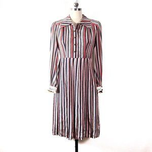 vintage 70s japanese silk stripe shirt dress Mp